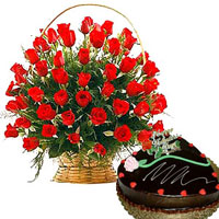 25 rad roses basket 500g chocalate cake heart shaped