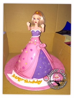 1kg pink barbie doll cake