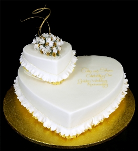 2Kg Double Heart Shape Anniversary cake
