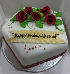 1 Kg Fondant Red Flower Cake
