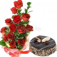 12 fresh rad roses 500g chocalate trufflu  cake