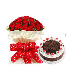 20 fresh rad roses 1kg black forest cake