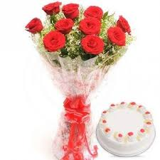 10 fresh rad roses 500g pineapple cake