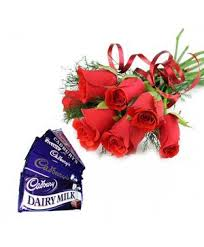 6rad roses 5 dairy milk chocalate