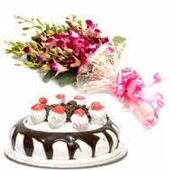 six orchids 1kg black forest cake
