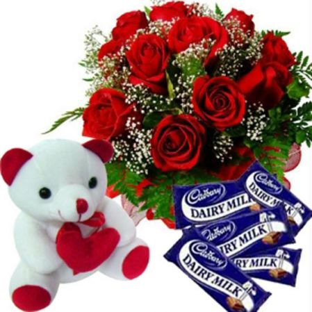 Red Rose Bunch, Teddy, dairy milk chocolate